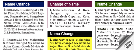 New Indian Express Change of Name display classified rates